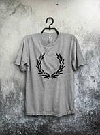 Брендовая футболка Fred Perry, футболка фред пери, серая, мужская, летняя, спортивная, хлопок, ф2343