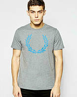 Брендовая футболка Fred Perry, футболка фред пери, серая, мужская,  спортивная, хлопок, ф2344