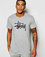 Брендовая футболка, серая, мужская, летняя, размеры в наличии, ф2415