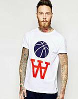 Брендовая футболка, белая, мужская, спортивная, большое лого, размеры в наличии, ф2419