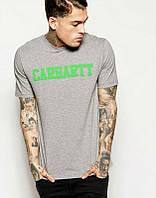 Брендовая футболка, серая, мужская, зеленое лого, размеры в наличии, хлопок, ф2425
