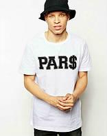 Брендовая футболка, белая, мужская, летняя, хлопок, стильная, ф2440