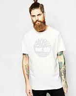 Брендовая футболка, белая, на груди лого, в наличии, летняя, хлопок, ф2443