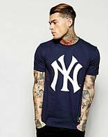 Брендовая футболка, темно-синяя, хлопок, летняя, мужская, в наличии, ф2444