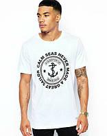 Брендовая футболка, белая, унисекс, с большим лого, мужская, хлопок, ф2455