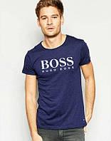 Брендовая футболка, темно-синяя, мужская, спортивная, хлопок, размеры в наличии, ф2458