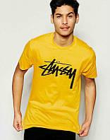 Брендовая футболка, желтая, хб, большое лого, в наличии, мужская, спортивная, ф2496