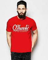 Брендовая футболка, красная, с белым лого, трикотаж, мужская, спортивная, ф2502