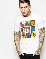 Брендовая футболка, белая, с большим лого, в наличии, летняя, хлопок, ф2541