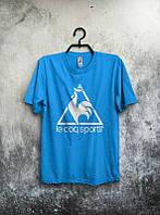Брендовая футболка, голубая, мужская, в ассортименте, хлопок, летняя, молодежная, ф2549