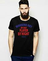 Брендовая футболка, черная, трикотаж, мужская, в наличии, спортивная, летняя, ф2560