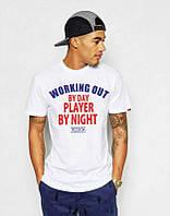 Брендовая футболка, белая, трикотаж, в ассортименте, летняя, спортивная, ф2561