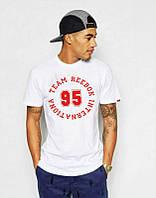 Брендовая футболка, белая, трикотаж, мужская, в наличии, летняя, качественная, ф2569