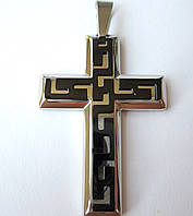 Крест большой со вставкой, 0138 , медицинская сталь + ювелирный сплав