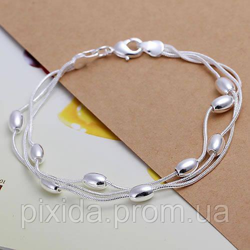 Браслет овальные бусинки покрытие 925 серебро проба