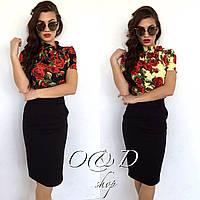 Женская блузка в красную розу