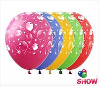 """Латексные воздушные шары с рисунком """"Шарики-кометы"""", диаметр 12 дюймов(30 см),шелкография 5ст,100шт"""