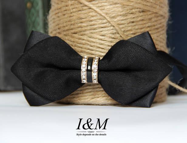 Галстук-бабочка I&M Craft двухцветный чёрный с серым (010608) , фото 2