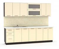Кухня Гамма глянец 2м со столешницей бежевый   Мебель-Сервис