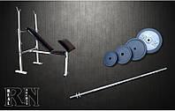 Скамья для жима RN Sport универсальная с приставкой Скотта + Штанга 72 кг