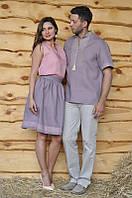 Летняя парная вышиванка: мужская рубашка, женский топ и юбка с вышивкой