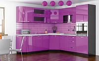 Кухня Гамма глянец 2м со столешницей фиолетовый   Мебель-Сервис