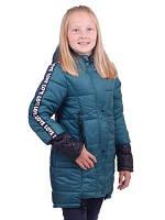 Удлиненная  весенняя  куртка для девочки от 6 до 10 лет