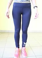 Женские спортивные  лосины ADIDAS (0113-2) синие код 0161 Б