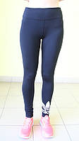 Женские спортивные  лосины ADIDAS (0113-1) черные код 0162 Б