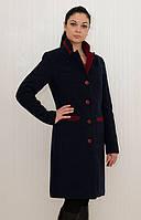 Зимнее классическое кашемировое пальто Лаура (синий с красным)