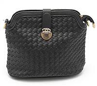 Небольшая черная женская сумка плетеная с экокожи Б/Н art. 2015-3