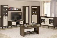 Парма набор мебели для гостиной (Мебель-Сервис)  дуб шоколадный + крем глянец