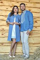 Парная вышиванка: мужская рубашка, женское летнее пальто и платье с вышивкой