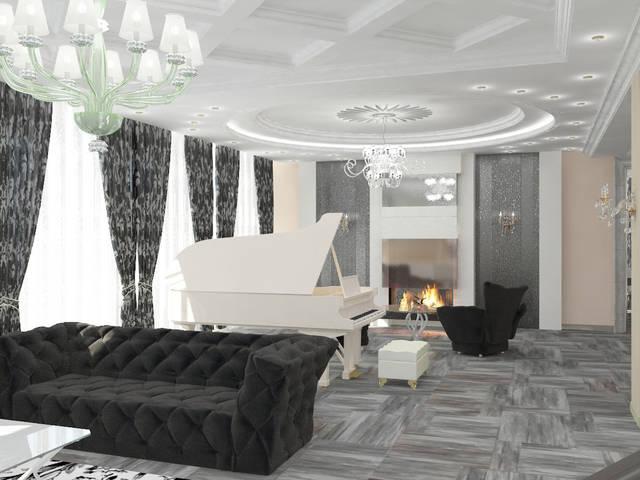 Дизайн интерьера зала загородного особняка