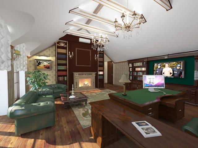 Кабинет в классическом стиле на мансардном этаже