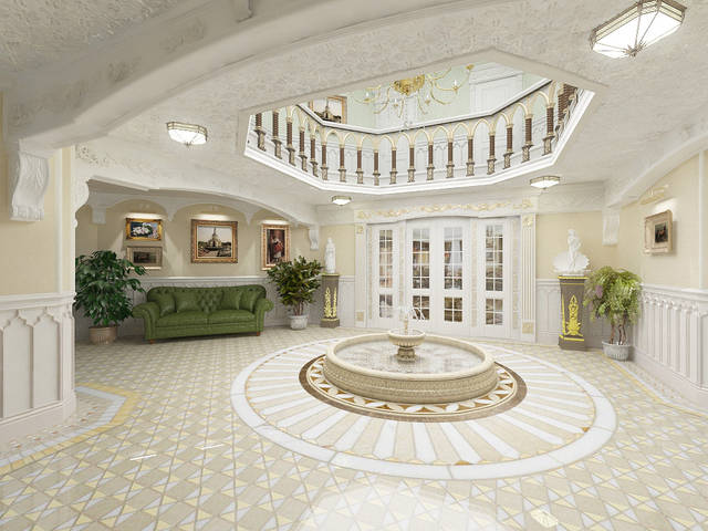 Вариант решения холла загородного особняка в классическом стиле
