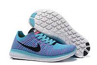 Кроссовки женские Nike Free Run Flyknit 5.0  (найк фри ран флайнит, кроссовки для бега nike free run) синие