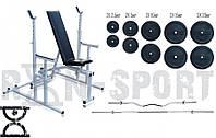 Скамья для жима RN Sport 3090 + Стойки для приседний 40S + Штанга 115 кг + EZ-гриф