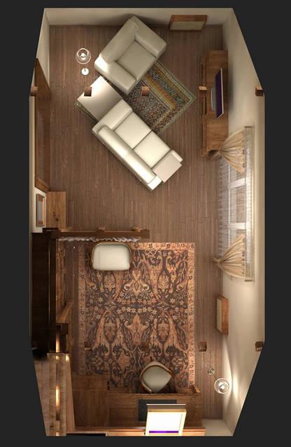 Пример решения кабинета с зоной отдыха. Тут переплетается несколько стилей: классическая мебель с элементами кантри стиля на потолке и перегородке и все это в минималистической манере.