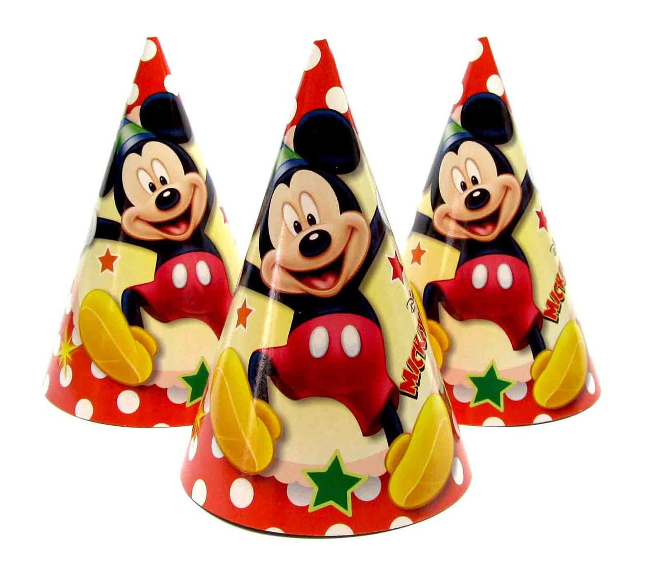 """Колпачки бумажные """"Мики Маус"""" (горох). В упак: 10шт.  Размер: 16см."""