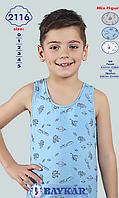 """Детское белье для мальчиков из Турции оптом. Майки хлопковые для мальчиков """"Космос""""  TM Baykar р.3 (122-128см)"""