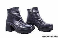 Ботинки женские кожаные Phany (ботильоны синие, байка)
