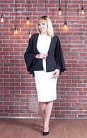 Стильный женский пиджак пончо Мелани из легкой костюмной ткани 44-56 размеры