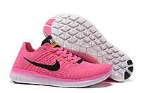 Кроссовки женские Nike Free Run Flyknit 5.0 (найк фри ран флайнит, кроссовки для бега nike free run) розовые