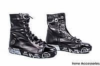 Ботинки женские кожаные Phany (кеды на молнии и шнуровке, байка)
