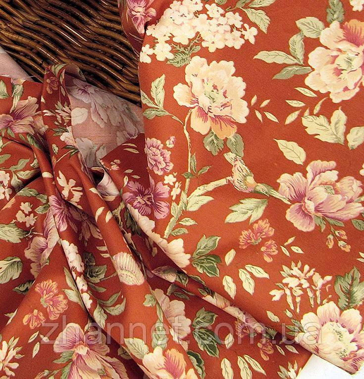 Тканина для штор Елен квіти (теракот)