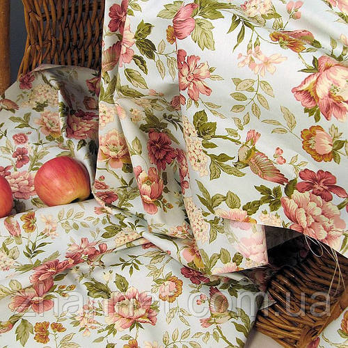 Ткань для штор Элен цветы (лазурь)