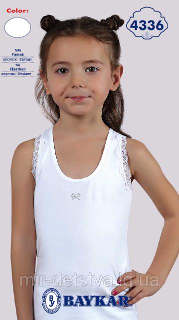 """Майка белая для девочек """"Бантик"""" ТМ Baykar, Турция оптом р.5 (146-152см)"""