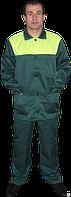 Костюм рабочий, тк. гретта зеленый с лимонной кокеткой