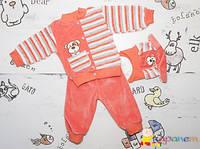 Теплый костюм детский велюр на 3-4мес для девочки